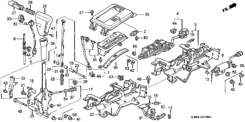 1992 accord EX 4 DOOR 4AT SELECT LEVER diagram