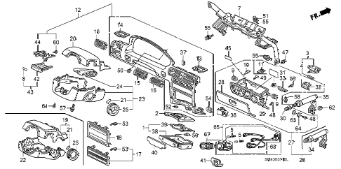 1993 accord LX 4 DOOR 5MT INSTRUMENT GARNISH diagram