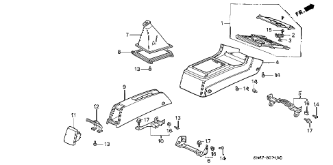 1991 accord EX 4 DOOR 4AT CONSOLE (1) diagram