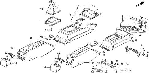 1992 accord LX 4 DOOR 5MT CONSOLE (2) diagram