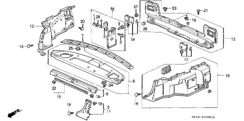 1991 accord DX 4 DOOR 5MT REAR TRAY - SIDE LINING diagram