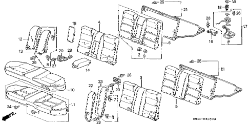 1993 accord EX 4 DOOR 4AT REAR SEAT diagram