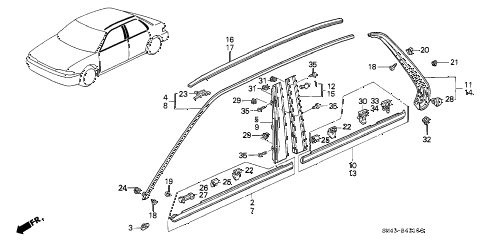1990 accord LX 4 DOOR 4AT MOLDING diagram