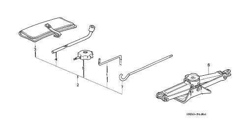 1991 accord LX 4 DOOR 5MT TOOL - JACK diagram