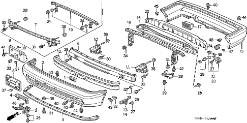 1992 accord DX 4 DOOR 5MT BUMPER diagram
