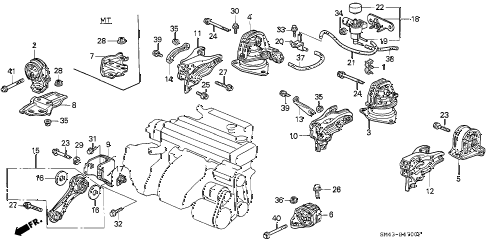 1992 accord LX 4 DOOR 4AT ENGINE MOUNT diagram