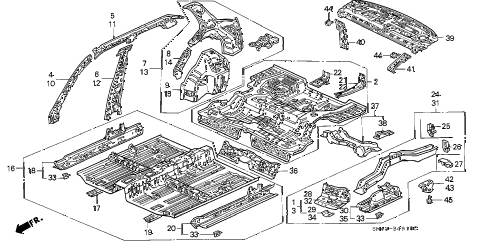 1991 accord DX 4 DOOR 5MT INNER PANEL diagram