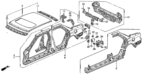 1990 accord EX 4 DOOR 5MT OUTER PANEL diagram