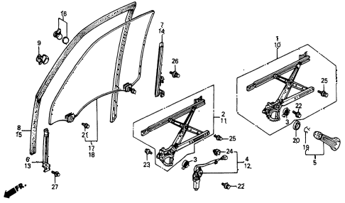 1991 accord EX 4 DOOR 5MT FRONT DOOR WINDOWS diagram