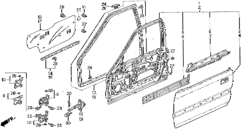 1992 accord DX 4 DOOR 5MT FRONT DOOR PANELS diagram