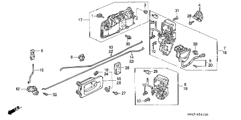 1990 accord DX 4 DOOR 4AT REAR DOOR LOCKS diagram