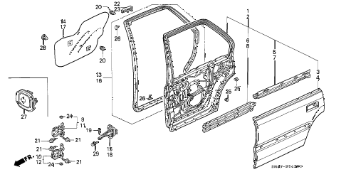 1992 accord DX 4 DOOR 4AT REAR DOOR PANELS diagram