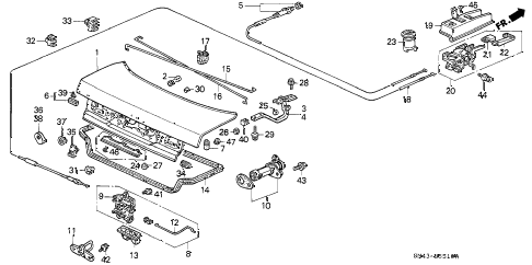 1991 accord SE 4 DOOR 4AT TRUNK LID diagram