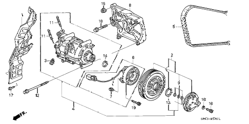 1993 accord SE 4 DOOR 4AT A/C COMPRESSOR (2) diagram