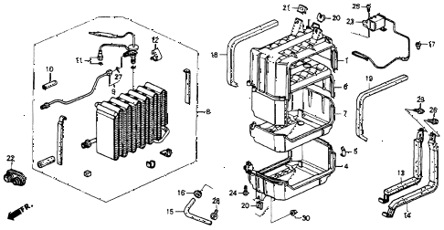 1993 accord LX(ANNIVERSARY ED 4 DOOR 4AT A/C COOLING UNIT (1) diagram