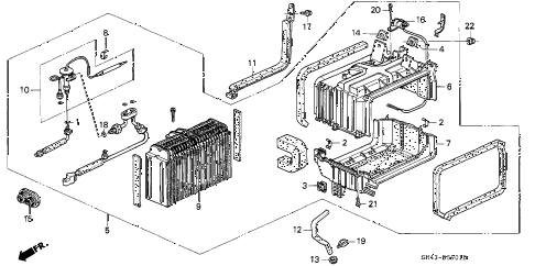 1991 accord SE 4 DOOR 4AT A/C COOLING UNIT (2) diagram