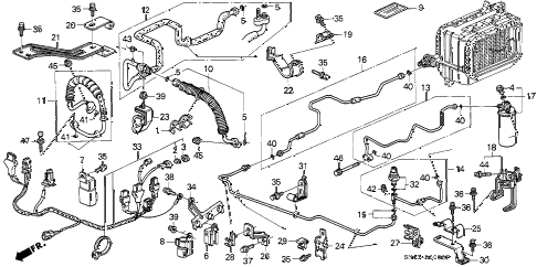 1993 accord SE 4 DOOR 4AT A/C HOSES - PIPES diagram