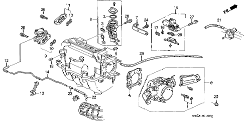 1992 accord LX 4 DOOR 5MT THROTTLE BODY diagram