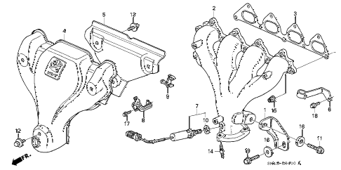 1993 accord DX 4 DOOR 4AT EXHAUST MANIFOLD (1) diagram