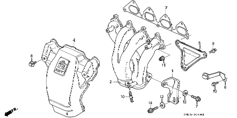 1993 accord EX 4 DOOR 4AT EXHAUST MANIFOLD (3) diagram