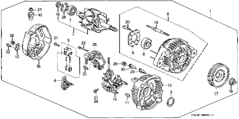 1992 accord EX 4 DOOR 4AT ALTERNATOR (DENSO) diagram