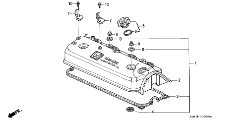 1993 accord LX(ANNIVERSARY ED 4 DOOR 4AT CYLINDER HEAD COVER diagram