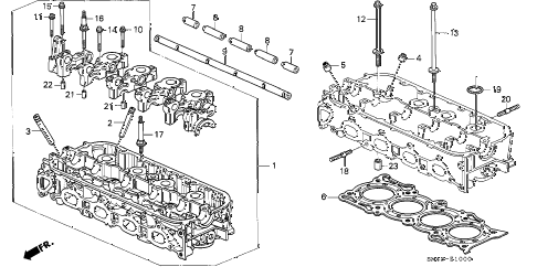 1992 accord DX 4 DOOR 4AT CYLINDER HEAD diagram