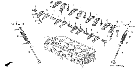 1990 accord DX 4 DOOR 4AT VALVE - ROCKER ARM diagram