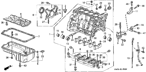 1992 accord DX 4 DOOR 4AT CYLINDER BLOCK - OIL PAN diagram