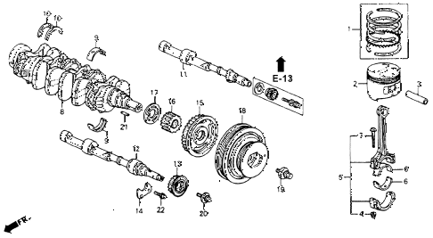 1991 accord SE 4 DOOR 4AT CRANKSHAFT - PISTON diagram