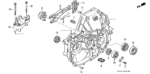 1991 accord LX 4 DOOR 5MT MT CLUTCH HOUSING diagram
