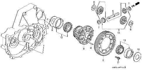 1992 accord DX 4 DOOR 5MT MT DIFFERENTIAL GEAR diagram