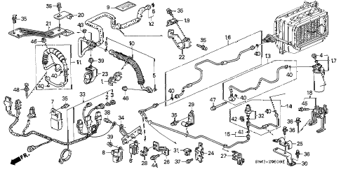 1991 accord DX 4 DOOR 4AT A/C HOSES - PIPES diagram