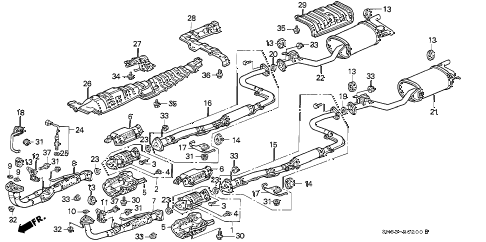 1992 accord EX 5 DOOR 4AT EXHAUST SYSTEM diagram