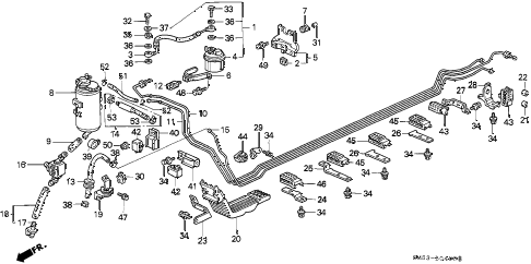 1991 accord EX 5 DOOR 4AT FUEL PIPE diagram