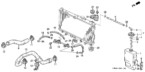 1993 accord LX 5 DOOR 5MT RADIATOR HOSE diagram
