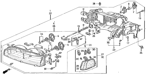 1993 accord LX 5 DOOR 5MT HEADLIGHT (2) diagram