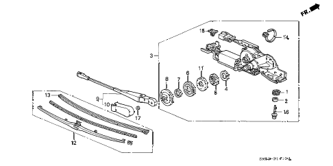 1992 accord LX 5 DOOR 5MT REAR WIPER diagram
