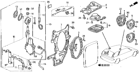 1991 accord EX 5 DOOR 4AT RADIO ANTENNA - SPEAKER diagram