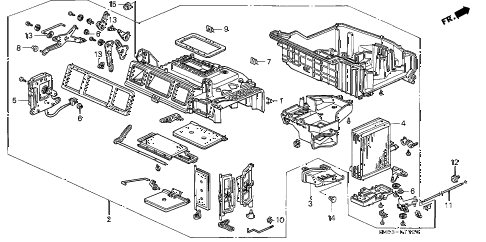 1992 accord EX 5 DOOR 5MT HEATER UNIT diagram