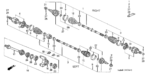 1993 accord EX 5 DOOR 5MT DRIVESHAFT diagram