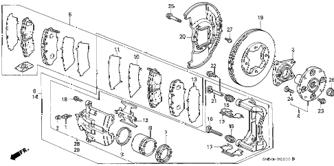1991 accord LX 5 DOOR 4AT FRONT BRAKE diagram