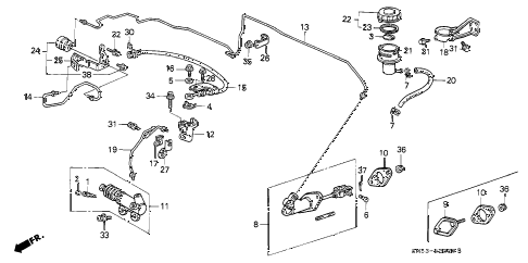 1991 accord EX 5 DOOR 4AT CLUTCH MASTER CYLINDER diagram