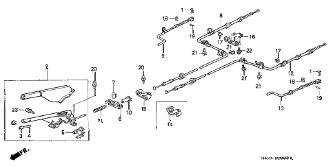 1992 accord EX 5 DOOR 5MT PARKING BRAKE diagram