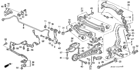 1993 accord EX 5 DOOR 5MT REAR LOWER ARM diagram