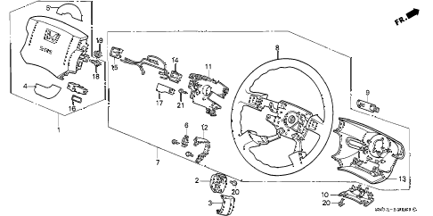 1992 accord LX 5 DOOR 5MT STEERING WHEEL diagram
