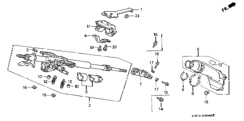 1992 accord EX 5 DOOR 5MT STEERING COLUMN diagram