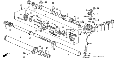 1991 accord LX 5 DOOR 5MT P.S. GEAR BOX COMPONENTS diagram
