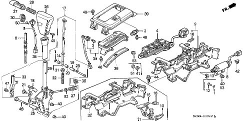 1991 accord LX 5 DOOR 4AT SELECT LEVER diagram