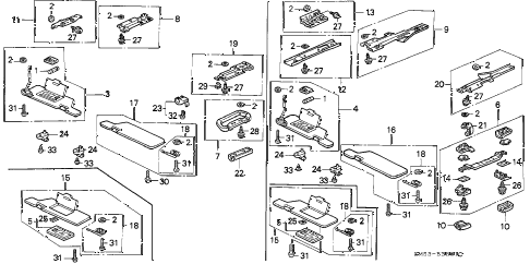 1992 accord EX 5 DOOR 4AT SUNVISOR - GRAB RAIL diagram